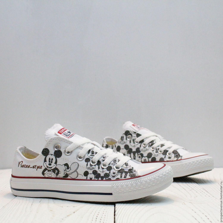 3d89e085b71c Обувь ручной работы. Ярмарка Мастеров - ручная работа. Купить Низкие кеды  Converse «Микки ...