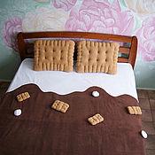 Для дома и интерьера handmade. Livemaster - original item Chocolate plaid and cookie pillows, a gift for a sweet tooth brown plaid. Handmade.