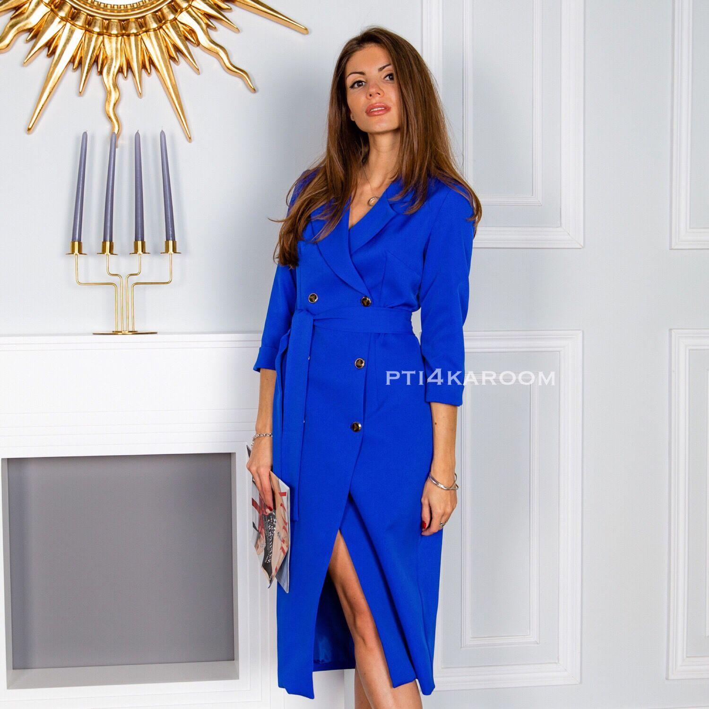 Синее платье-пиджак – купить в интернет-магазине на Ярмарке Мастеров ... ce18a1a15bf