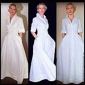 Одежда handmade. Livemaster - original item Dress - cotton shirt, white, with a fluffy skirt