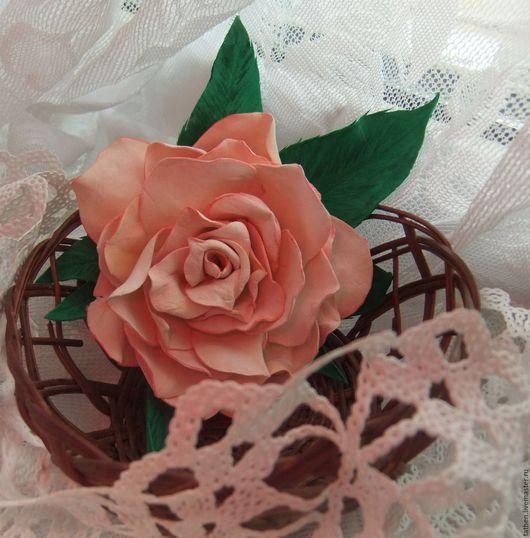 Заколки ручной работы. Ярмарка Мастеров - ручная работа. Купить Чайная роза брошь-заколка. Handmade. Кремовый, роза