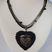 Украшения handmade. Livemaster - original item Set the Mystery of the author`s heart decoration on a leather cord. Handmade.