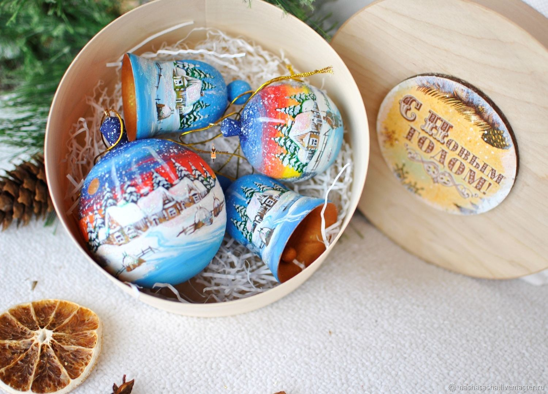 """Круглый короб с расписными игрушками""""Зимняя деревня"""", Christmas decorations, Moscow,  Фото №1"""