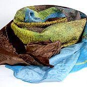 Шарфы ручной работы. Ярмарка Мастеров - ручная работа шарф валяный золотисто-коричнево-голубой по мотивам. Handmade.