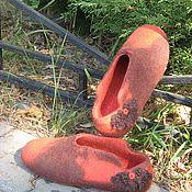 """Обувь ручной работы. Ярмарка Мастеров - ручная работа Тапочки валяные """"Кофе с апельсином """". Handmade."""