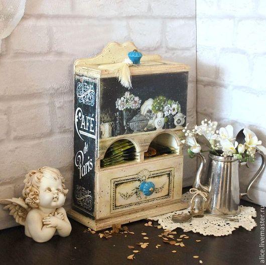 """Кухня ручной работы. Ярмарка Мастеров - ручная работа. Купить """"Petit Bistro de Paris""""  чайный буфетик. Handmade. Бирюзовый"""