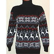 Одежда handmade. Livemaster - original item A reindeer sweater and knitted Norwegian ornament(black). Handmade.