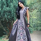 """Уникальное вышитое платье """"Лесная нимфа"""" ручная вышивка гладью"""