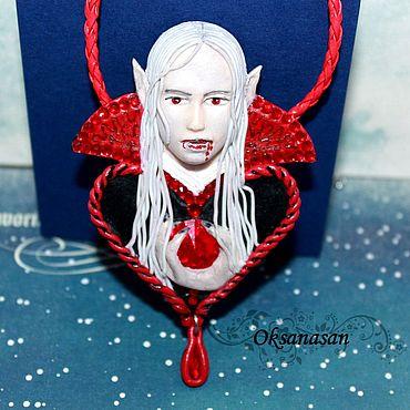 Украшения ручной работы. Ярмарка Мастеров - ручная работа Кулон из полимерной глины Сердце вампира. Handmade.