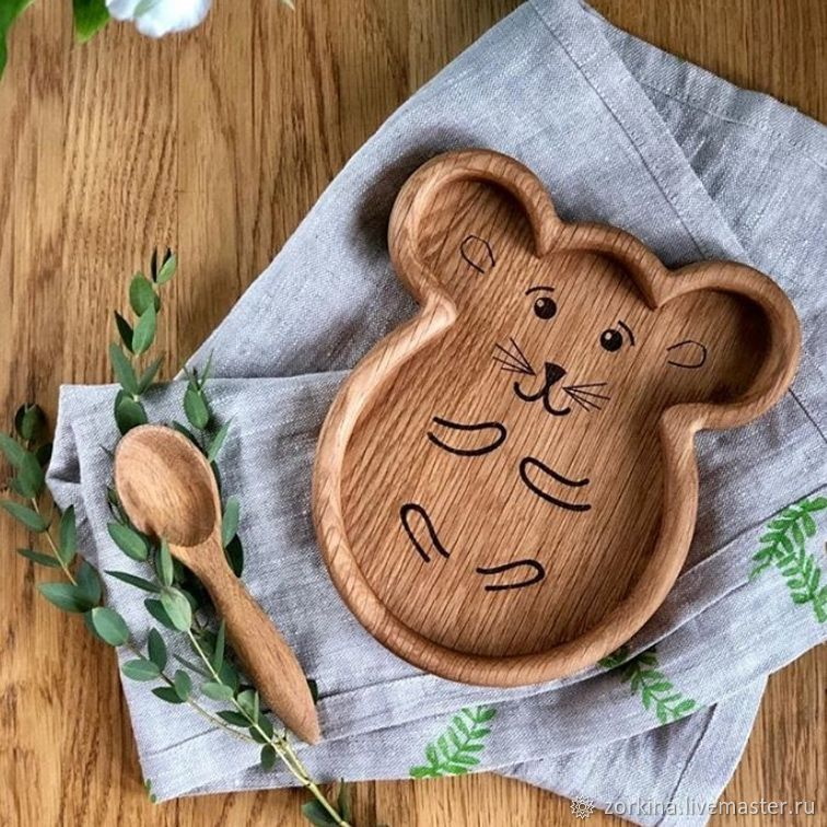 Children's wooden plate Mouse, Children\'s tableware, Moscow,  Фото №1