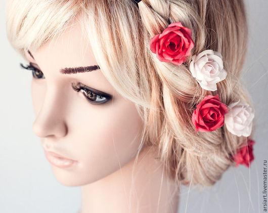 Заколки ручной работы. Ярмарка Мастеров - ручная работа. Купить Шелковые розы. Украшение для невесты. Цветы в волосы. Шпильки розочки. Handmade.