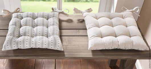 """Текстиль, ковры ручной работы. Ярмарка Мастеров - ручная работа. Купить Подушки для стульев """"Лен"""".. Handmade. Серый, подушка на стул"""