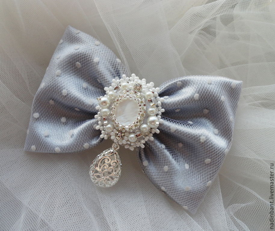 Barrette bow-Silver light, Hair Decoration, St. Petersburg,  Фото №1