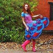 """Одежда ручной работы. Ярмарка Мастеров - ручная работа Платье """"Танцующие неоновые фудзиямы"""" спицами из мериноса экстрафайн ру. Handmade."""