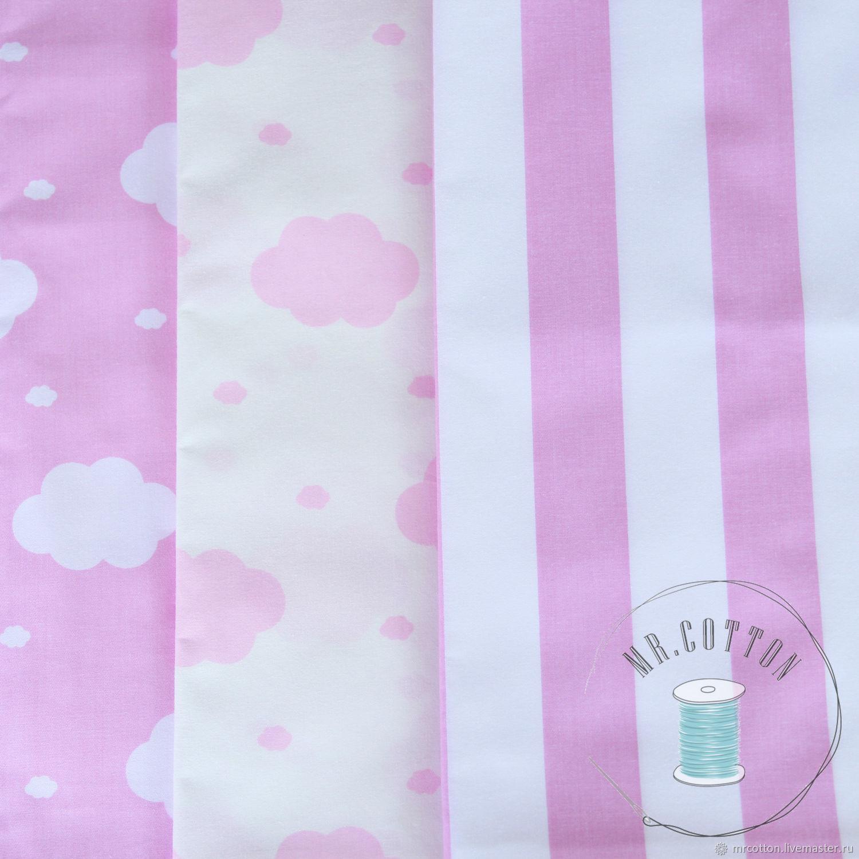 Ткань сатин. Розовые облачка на белом, Шитье, Москва, Фото №1