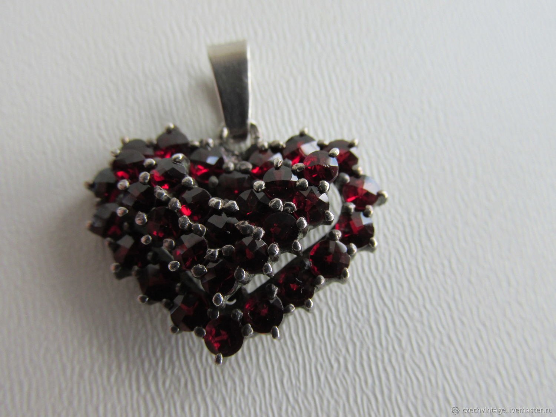 GENUINE CZECH GARNETS. PENDANT PENDANT HEART 1950e, Vintage pendants, Prague,  Фото №1