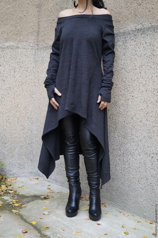 Верхняя одежда ручной работы. Ярмарка Мастеров - ручная работа. Купить Ассимметричный свитер/Свитер из трикотажа/F1528. Handmade. Черный, модная одежда