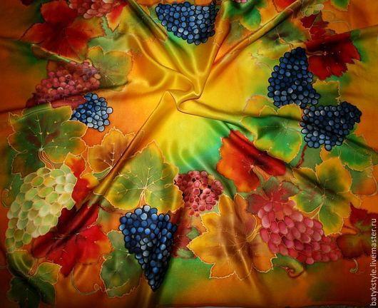 """Шали, палантины ручной работы. Ярмарка Мастеров - ручная работа. Купить Платок батик """"Солнечный виноград"""". Handmade. Рисунок, солнце"""