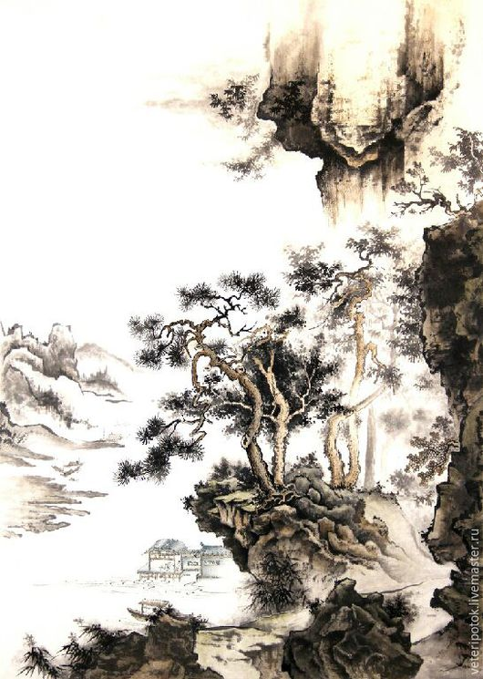 """Пейзаж ручной работы. Ярмарка Мастеров - ручная работа. Купить Картина на рисовой бумаге """"Тихий берег"""". Handmade. Пейзаж, водопад"""
