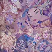 """Аксессуары ручной работы. Ярмарка Мастеров - ручная работа Шелковый платок батик """"Принцесса Орхидея"""", ручная роспись. Handmade."""