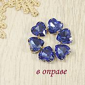 Материалы для творчества handmade. Livemaster - original item Glass rhinestones Heart 10mm Sapphire. Handmade.