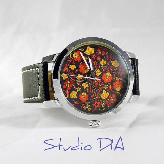 Часы. Наручные Часы. Оригинальные Дизайнерские Часы Хохлома Рисунок. Студия Дизайнерских Часов DIA.