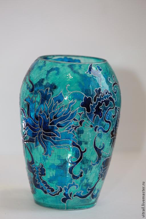 """Вазы ручной работы. Ярмарка Мастеров - ручная работа. Купить Ваза стекло """"Хризантемы"""", Китай. Handmade. Ваза с росписью"""