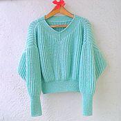 Одежда ручной работы. Ярмарка Мастеров - ручная работа Мятный свитер оверсайз. Handmade.