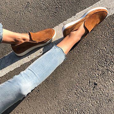 Обувь ручной работы. Ярмарка Мастеров - ручная работа Замшевые туфли Brook T101 (карамель). Handmade.