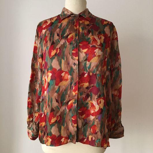 Одежда. Ярмарка Мастеров - ручная работа. Купить Винтажная блузка CACHAREL, 1980-е годы. Handmade. Cacharel, цветочный принт