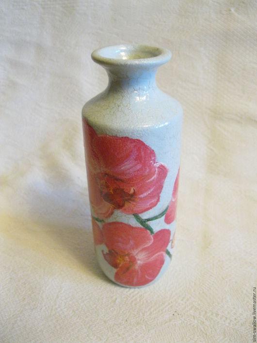 """Вазы ручной работы. Ярмарка Мастеров - ручная работа. Купить Ваза """"Розовая орхидея"""". Handmade. Голубой, вазочка для цветов, маленькая"""