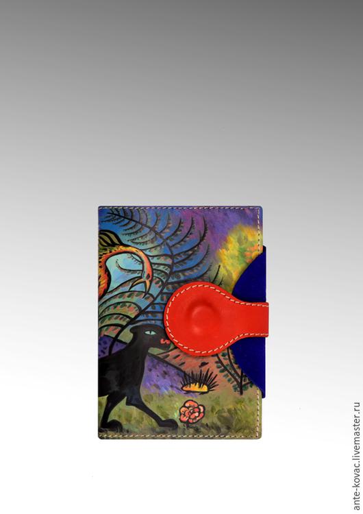 """Кошельки и визитницы ручной работы. Ярмарка Мастеров - ручная работа. Купить Обложка - портмоне """"Пес ада и райская птица"""". Handmade."""