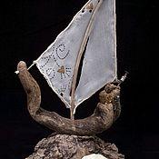 Элементы интерьера ручной работы. Ярмарка Мастеров - ручная работа Кораблик из сплавного дерева.дрифтвуд. Handmade.