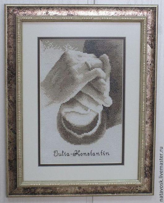 Люди, ручной работы. Ярмарка Мастеров - ручная работа. Купить Вышивка крестом Свадебная метрика. Handmade. Коричневый, бежевый цвет