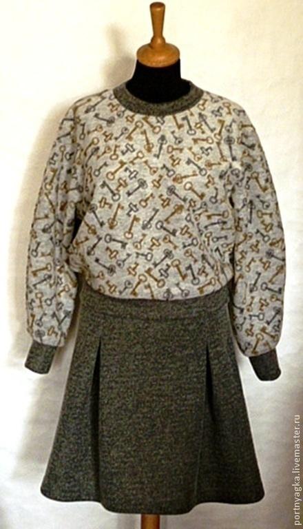 Костюмы ручной работы. Ярмарка Мастеров - ручная работа. Купить Свитшот+юбка Ключики. Handmade. Серый, теплый комплект, спортивный стиль