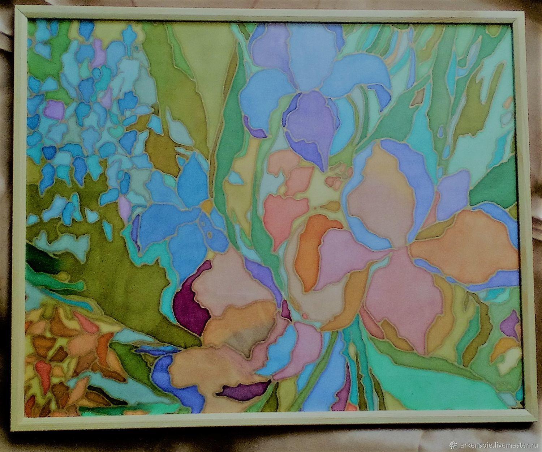 Autumn colors,painting on silk,40h50 x  cm