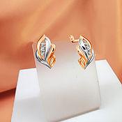 Украшения handmade. Livemaster - original item Gold earrings with cubic Zirconia in combined gold. .. Handmade.