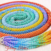 Украшения handmade. Livemaster - original item Lariat long rainbow beaded decoration. Handmade.