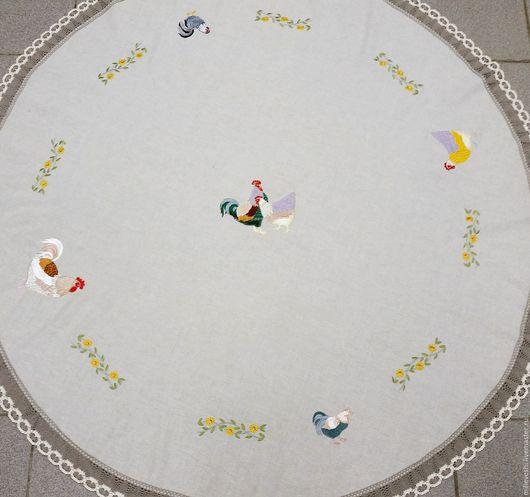 Текстиль, ковры ручной работы. Ярмарка Мастеров - ручная работа. Купить Скатерть льняная круглая Пух и перья. Handmade. Лен