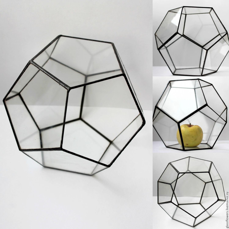 Флорариум. Геометрический витражный флорариум. Додекаэдр
