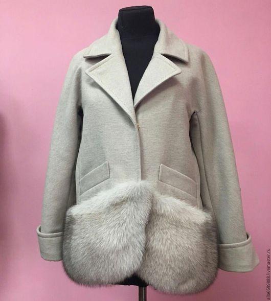 Верхняя одежда ручной работы. Ярмарка Мастеров - ручная работа. Купить Пальто с мехом. Handmade. Пальто, серый