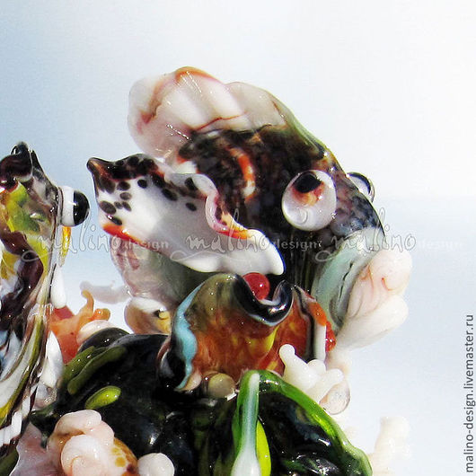 """Композиция из серии """"Коралловый риф"""". ArtStudio MalinoDesign. Lampwork. Авторская ручная работа."""