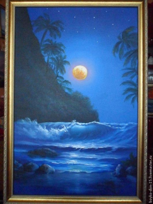 """Пейзаж ручной работы. Ярмарка Мастеров - ручная работа. Купить """"Южная ночь""""   х,м, 40х60. Handmade. Тёмно-синий"""