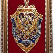 Подарки к праздникам handmade. Livemaster - original item The coat of arms of the FSB of Russia made of amber. Handmade.