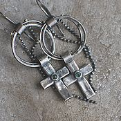 Украшения handmade. Livemaster - original item Earrings with emeralds, silver and brass. Handmade.