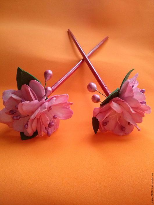 """Заколки ручной работы. Ярмарка Мастеров - ручная работа. Купить Палочки для прически """"Сакура"""". Handmade. Розовый, палочки для волос"""