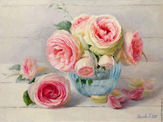 Картины цветов ручной работы. Ярмарка Мастеров - ручная работа. Купить Розовые розы. Handmade. Комбинированный, цветы, цветы в вазе