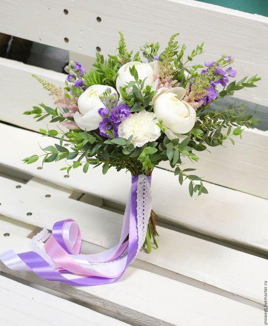 Свадебные цветы ручной работы. Ярмарка Мастеров - ручная работа. Купить Букет невесты - Бело-сиреневый. Handmade. Сиреневый