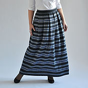 Одежда handmade. Livemaster - original item Long skirt with knitted ornament Sweden. Handmade.