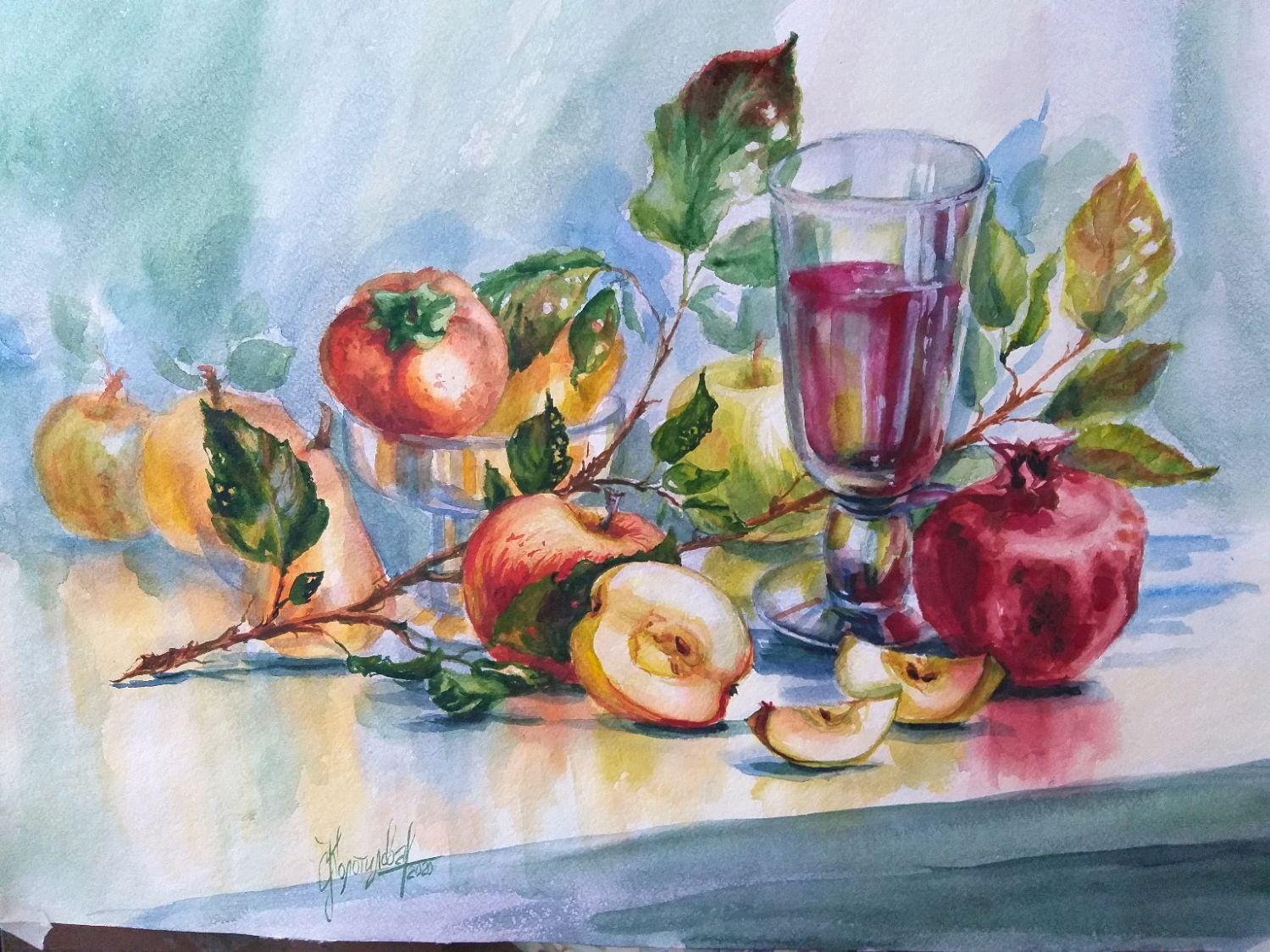 """акварель """"Яблочки""""(цена без оформления), Картины, Санкт-Петербург,  Фото №1"""